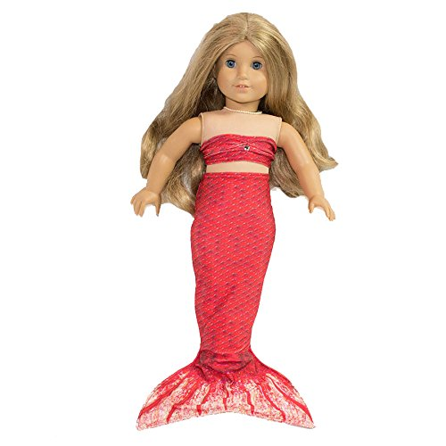[Fin Fun Mermaid Tail Outfit for 18 Inch Doll like American Girl - Scarlet's Rio Red - Outfit Only, Doll Not Included] (Mermaid Fairy Costumes)