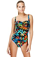 Midnight Tropical Floral Ruched Swimsuit