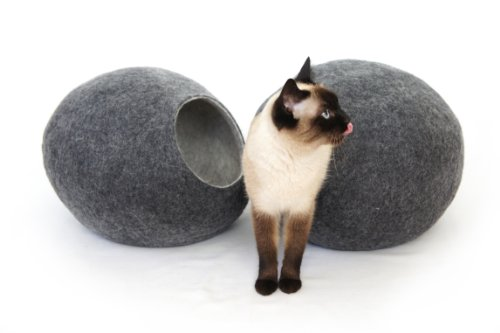 Cat Bed, House, Cave, Nap Cocoon, Handmade pure sheep wool, Dark