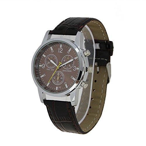 Muchbuy Men'S Fashion New Brown Leather Strap Round Dial Quartz Wrist Watch