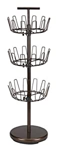 Household Essentials Three-Tier Revolving Shoe Tree Holds 18 Pairs, Bronze