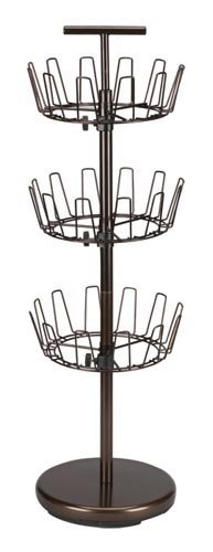 Household Essentials Three-Tier Revolving Shoe Tree Holds 18 Pairs, Bronze Finish