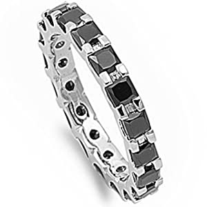 Princess Cut Simulated Black Onyx Eternity Wedding Band .925 Sterling Silver Ring Size 6