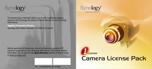 synology ip camera license key for synology