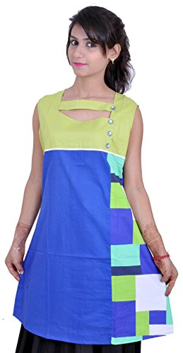 Lemon Nazaqat Women's Kurti Base Colour -Royal Blue With Lemon Green Yolk Designed With Print On Side And Sleeves Of The Kurti (Multicolor)