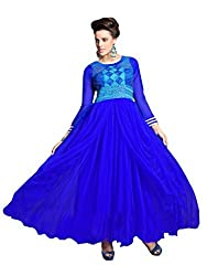 Suchi Fashion Embroidered Blue Net Semi Stitched Floor Length Party Wear Gown