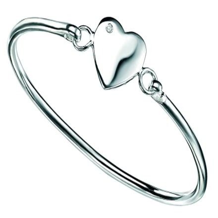 D for Diamond Children's Silver Diamond Heart Bangle