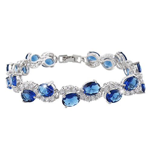EVER-FAITH-Sapphire-Color-Zircon-Roman-Tennis-Bracelet-Silver-Tone