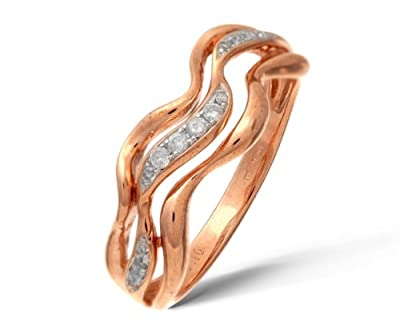 Ariel 9ct Rose and White Gold 0.10ct Diamond Triple Wave Half Eternity Ring