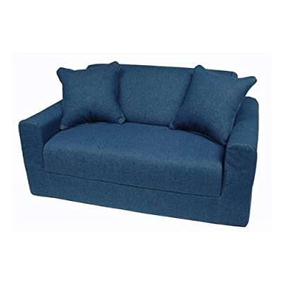 Blue denim sofa Denim loveseat