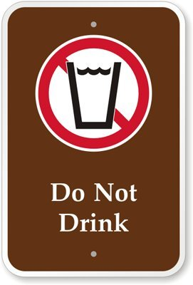 """Do Not Drink (With Graphic) Sign, 18"""" X 12"""""""