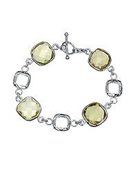 Rhodium Plated Lemon Quartz Bracelet (32 CT)