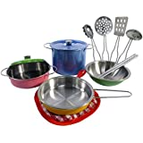 Colorful Metal Pots and Pans Kitchen Cookware Playset for Kids with Cooking Utensils Set