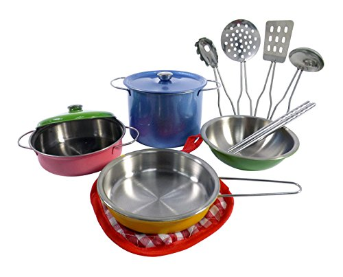 Liberty Imports Colorful Metal Pots and Pans Kitchen Cookware Playset for Kids with Cooking Utensils Set (Childrens Play Cookware compare prices)