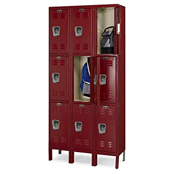 "Hallowell Premium 3-Tier Steel Locker - 12X12x24"" Opening - 3 Locker Wide - Unassembled - Burgundy"