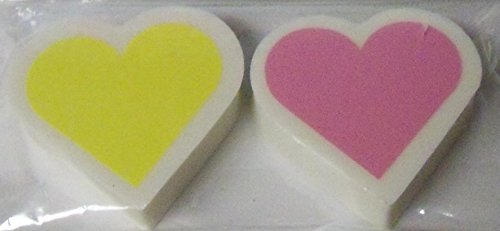 Staples Teen Vogue Latex Free Shaped Erasers ~ Set of 2 (Pink and Yellow Hearts)