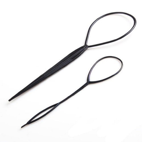 SODIAL(R) 2 Stk Topsy Tail Haar Dreher Styler Frisurenhilfe Hair Twister Schlinge Schlaufe Schwarz