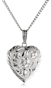 Sterling Silver Engraved Flowers Heart Locket Pendant, 18
