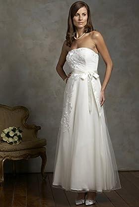 ankle-length strapless wedding dress, Mark Spencer