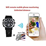 KEQI Smart WIFI Watch Remote Monitoring Mini Camera Wireless Watch 720P HD IP P2P Night Version DV Video Audio Recorder (Built in 32GB) (Tamaño: Built in 32GB)