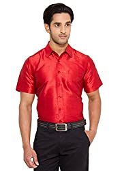 Vivyaan Maroon color Solid Pattern Men's party wear shirts