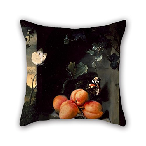 slimmingpiggy-pillowcover-of-oil-painting-jan-mortel-still-life-with-apricotes-and-butterfliesfor-gi