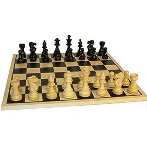 Worldwise Imports Black Lardy Classic Chessmen on Black Silkscreened Chessboard
