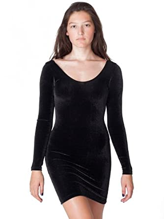 American Apparel Velvet Long Sleeve Mini Dress - Black / XS