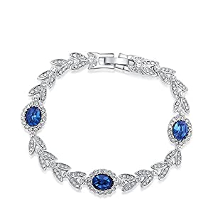 O4U Genuine Austrian Blue Crystals with Leaf Shape White Crystals Gold Plated Bracelet