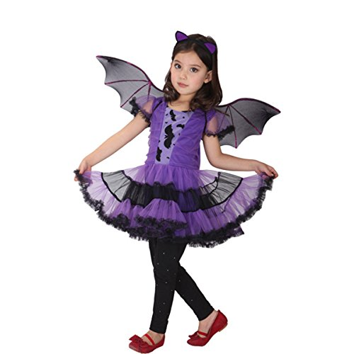 [Halloween Purple Bat Cosplay Costume Children Masked Party Dress Princess Girls Skirts Dance Performance Dress] (Womens Material Pop Star Costumes)