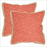 Safavieh Pillows Collection Madeline Decorative Pillow, 22-Inch, Red, Set of 2