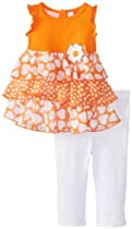 Kids Headquarters Baby-Girls Infant Tunic with White Legging, Orange, 18 Months