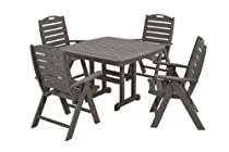 Hot Sale POLYWOOD PWS124-1-GY Nautical 5-Piece Dining Set, Slate Grey