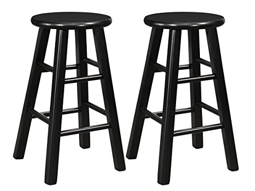Naomi Home Montrose Wooden Stool (Set of 2) Black/24