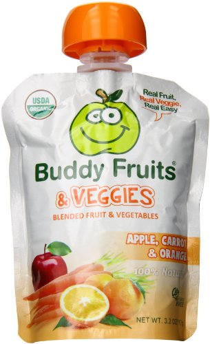 Buddy Fruits Blended Fruit and Veggies, Apple, Carrot and Orange, 5.2 Pound (Pack of 14)