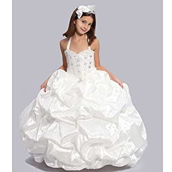 Girls White Jeweled Sweetheart Bodice Pageant Dress 4