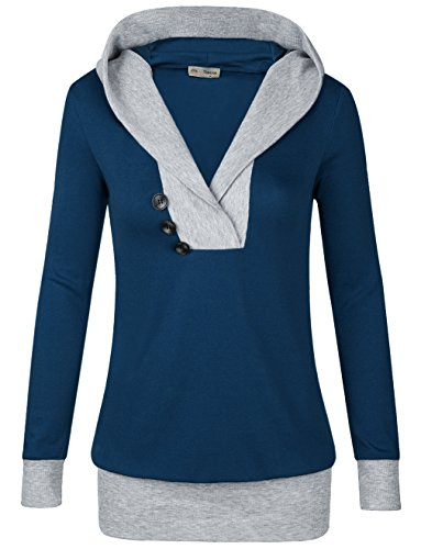 Hooded Tunic Top,Timeson Womens Long Sleeve Shawl Collar Sport 2-in-1 Knitted Panel Hooded Casual (X-Large, Navy)