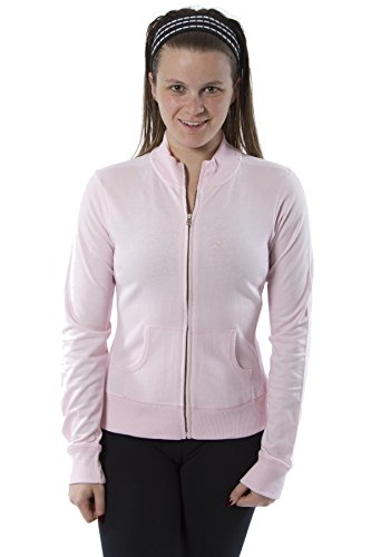 Womens Long Sleeve Mock Neck Jacket Zip up with Piping Jacket (X-Large, Light Pink)