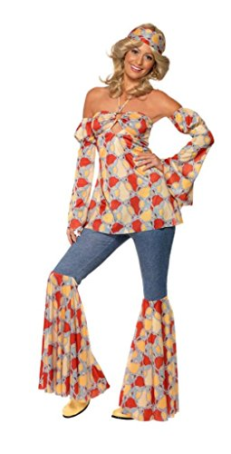 Smiffy's Women's Vintage Hippy 1970's Costume with Halterneck Top Sleeves Flares and Headband, Multi, Large