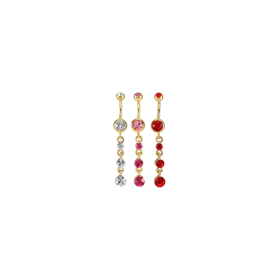 Gold Ring with Three Dangling Red Jewels Belly Ring   14g (1.6mm), 3/8 (10mm) Length   Sold Individually