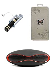 Saihan Combo Pack of 1 Pcs of Pocket Selfie Stick + 1 Pcs of Tempered Glass + 1 Pcs of Wireless Bluetooth Mini Speaker For LAVA Pixel V2