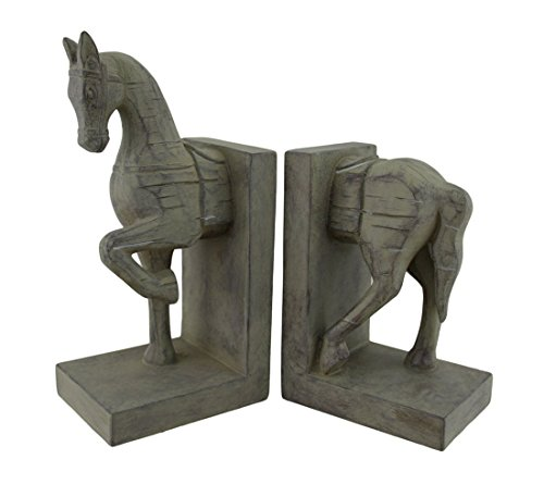 Distressed Finish Carved Wood Look Horse Head and Tail Bookends
