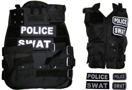 New Paintball / Airsoft Black SWAT / POLICE Tactical Vest Field Gear