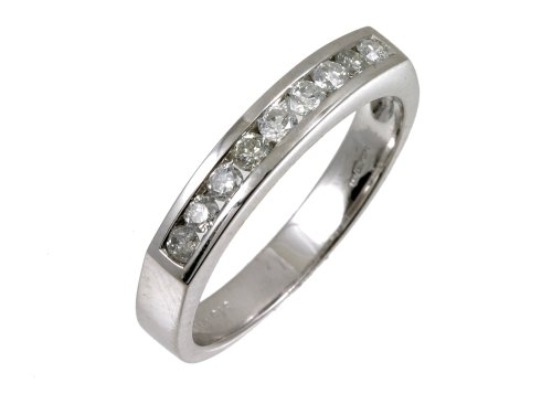 Eternity Ring, 9ct White Gold Diamond Ring, Channel