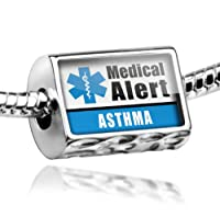 "Neonblond Beads Medical Alert Blue ""Asthma"" - Fits Pandora Charm Bracelet by NEONBLOND Jewelry & Accessories"