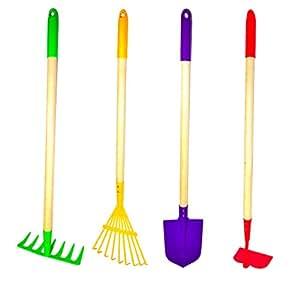 JustForKids Garden Tool Set,Rake, Spade, Hoe and Leaf Rake, 4-Piece.