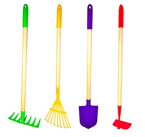 JustForKids Enhanced Garden Tool Set,Rake, Spade, Hoe and Leaf Rake, 4-Piece.