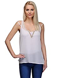 Curvy Q Sleeveless Women's White::Gold Top
