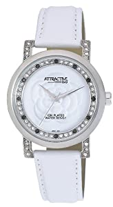 Q and Q Attractive ION-PLATED women Silver Case with Rhinestone White Band