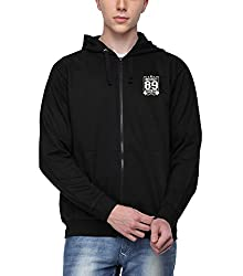 ADRO Premium Cotton Printed Zipper Hoodie Sweatshirt for Men (Black)